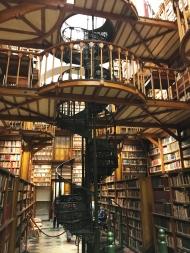 Schmiedeeisentreppe in der Bibliothek